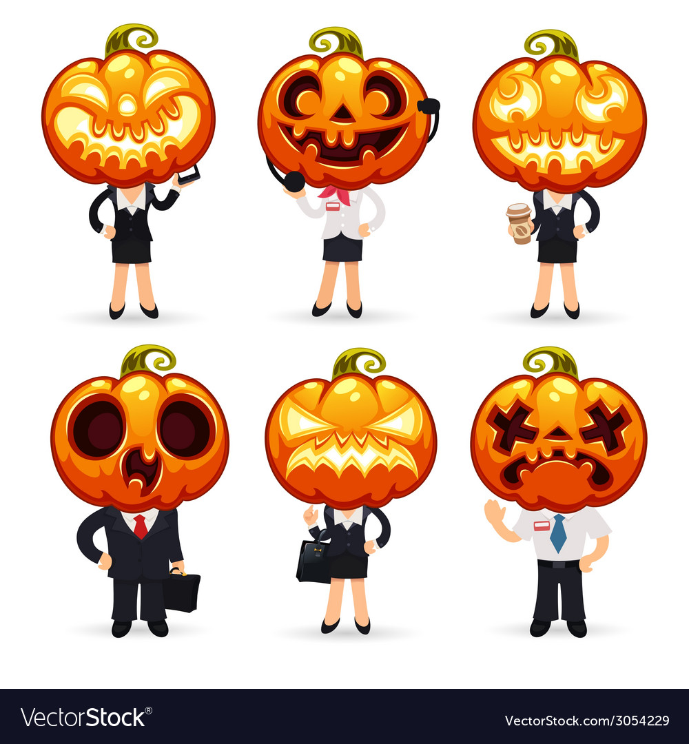 Businessmen with pumpkins on a heads vector | Price: 1 Credit (USD $1)