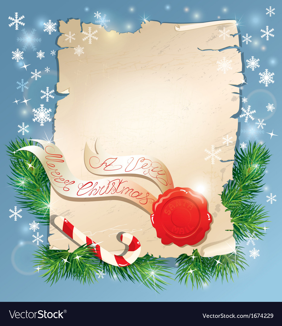 Christmas greeting magic scroll with wax seal vector | Price: 1 Credit (USD $1)