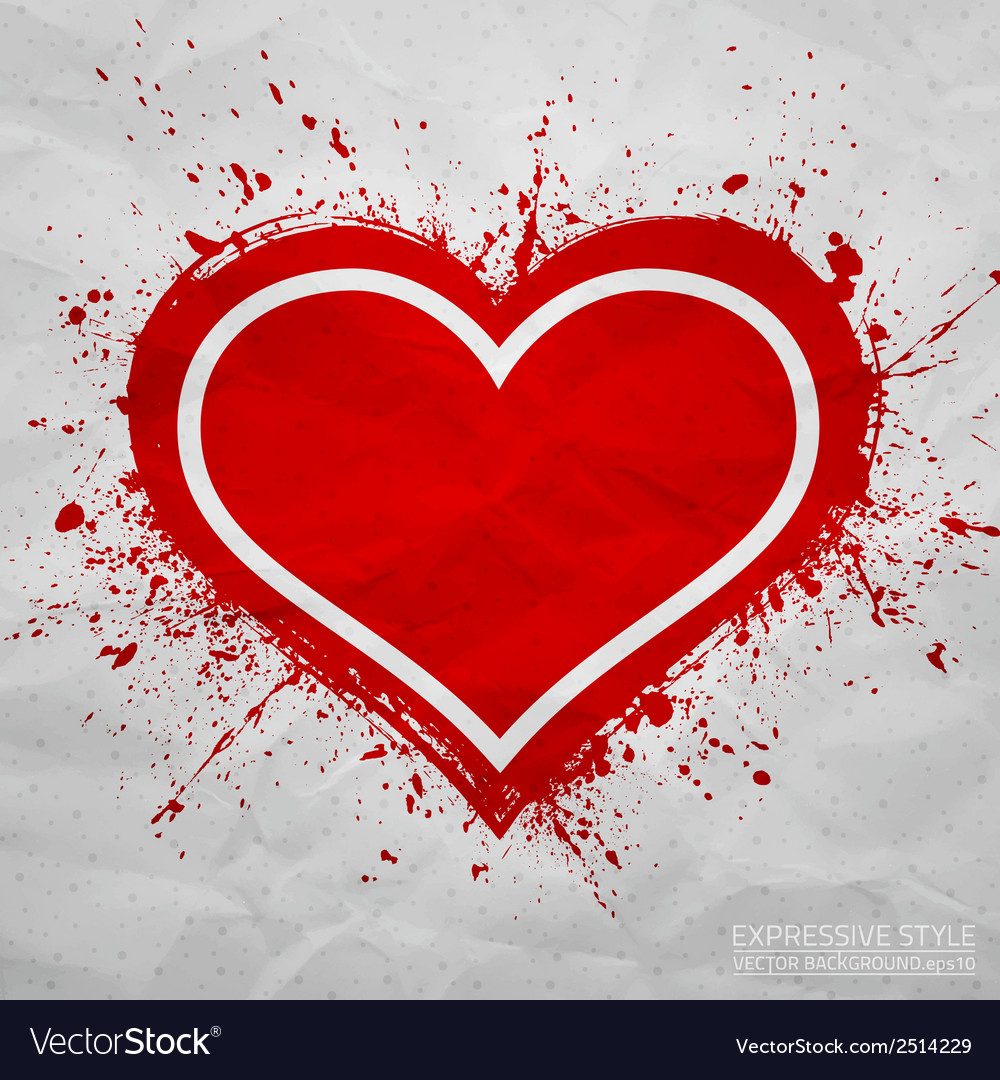 Creased old paper with handmade red heart vector | Price: 1 Credit (USD $1)