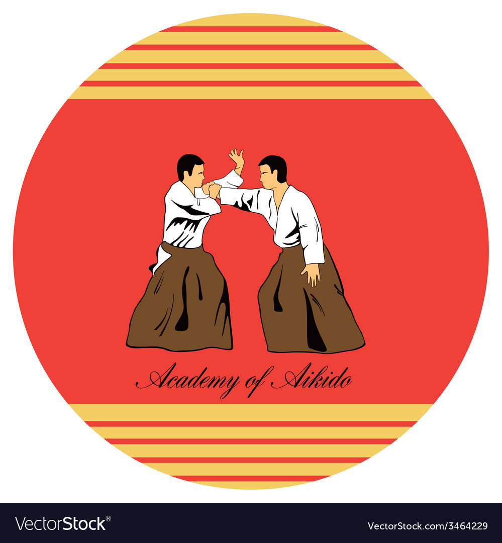 Emblem of aikido two men get busy on a red vector | Price: 1 Credit (USD $1)