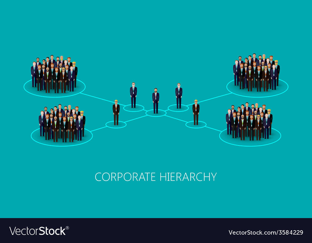 Flat of a corporate hierarchy structure a crowd of vector | Price: 1 Credit (USD $1)