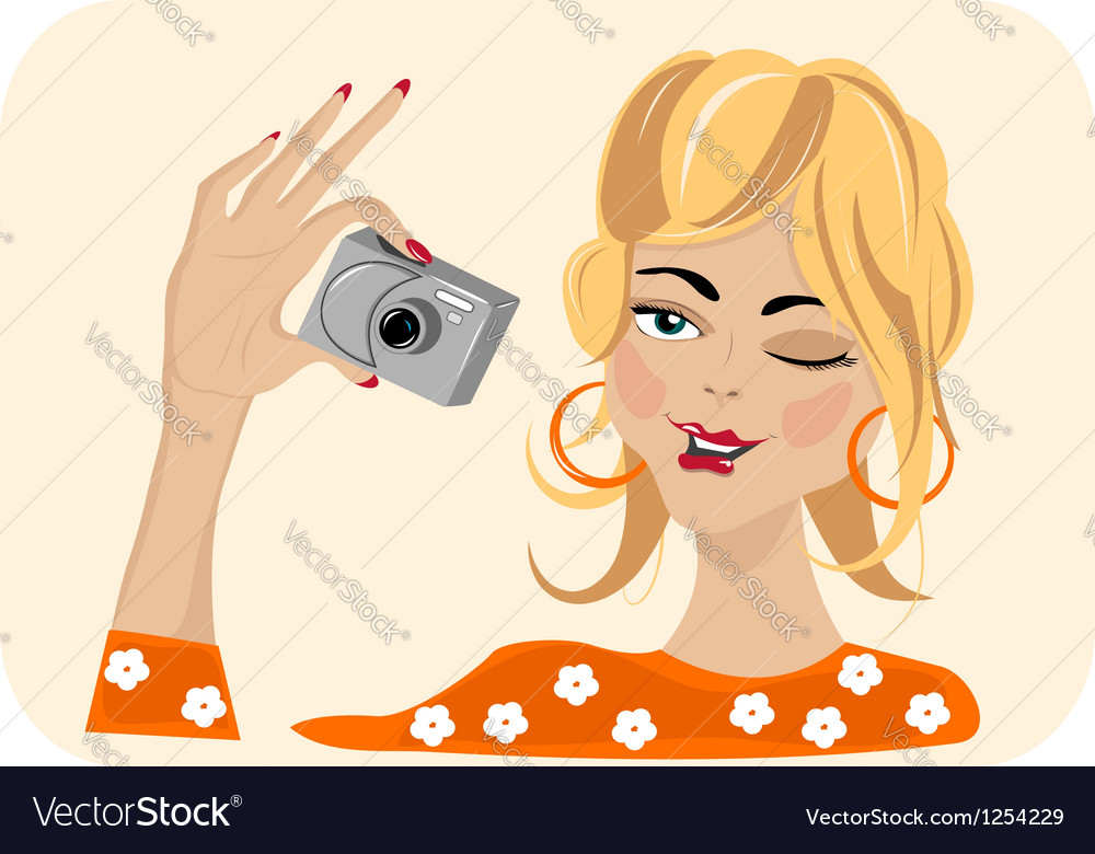 Girl with camera vector | Price: 3 Credit (USD $3)