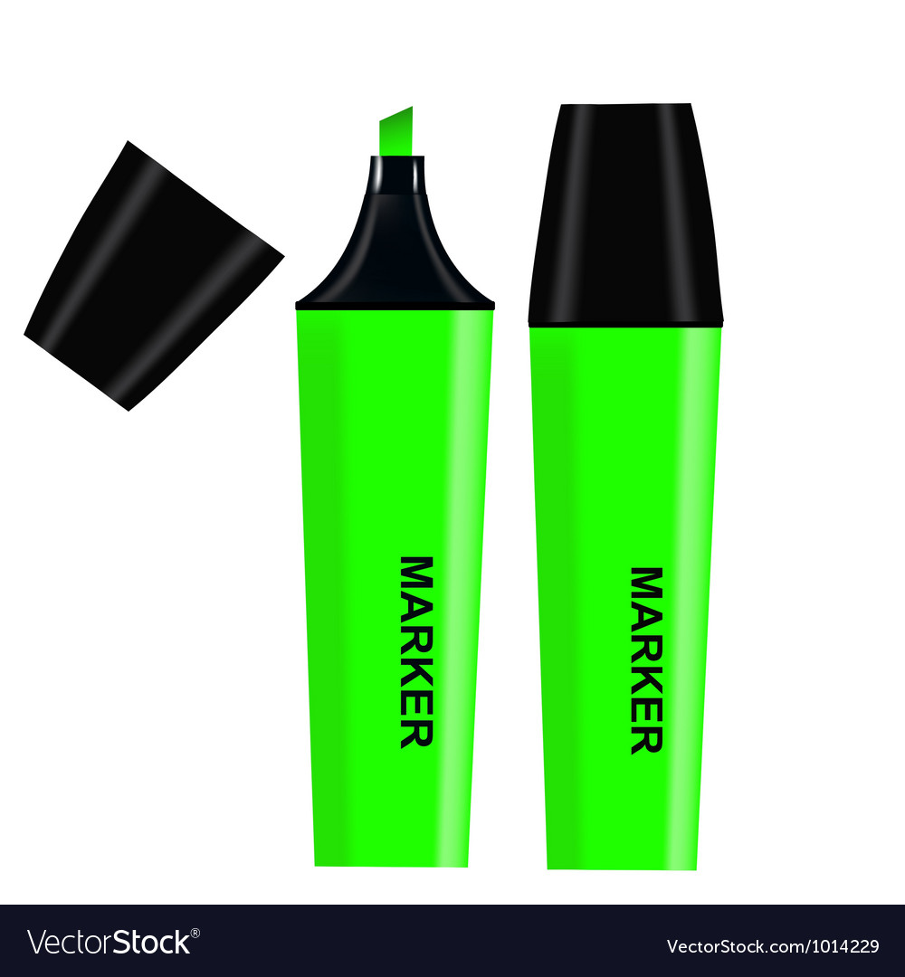 Green highlighter isolated on white background vector | Price: 1 Credit (USD $1)