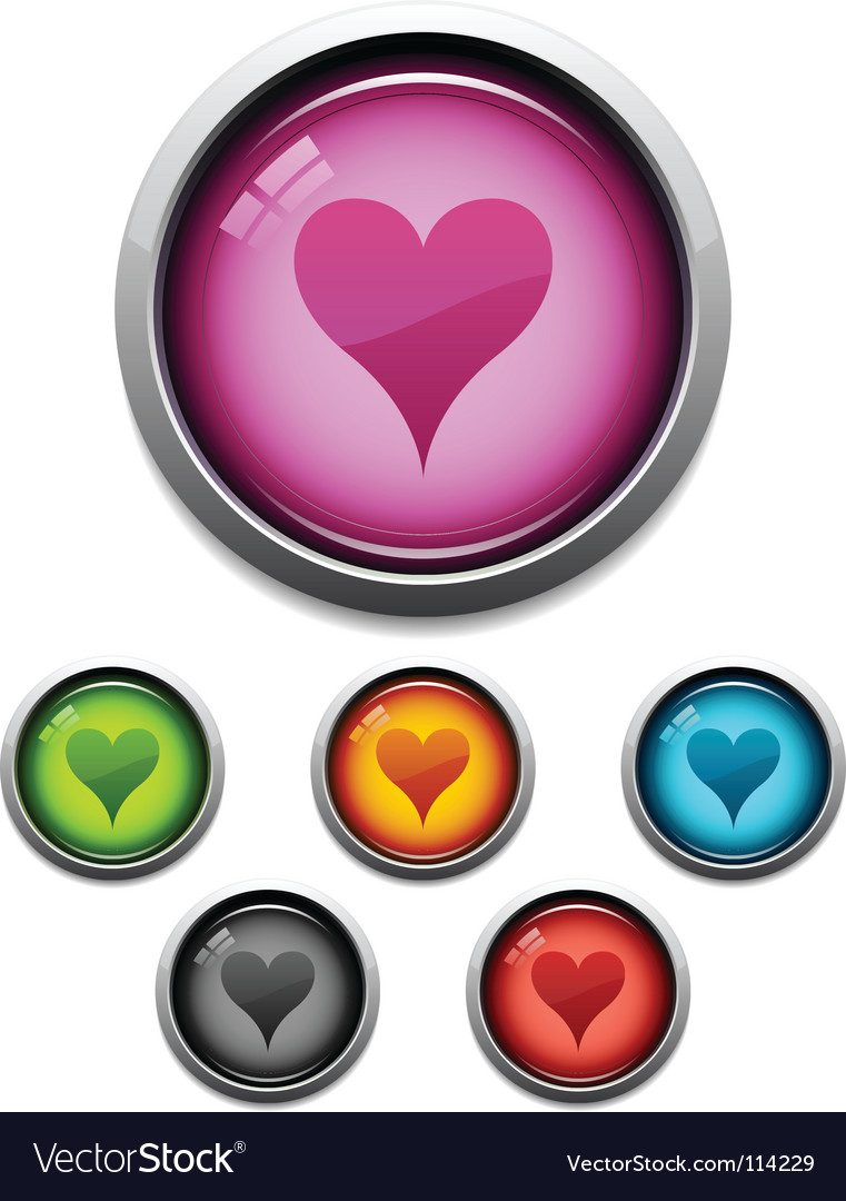 Heart button icon vector | Price: 1 Credit (USD $1)