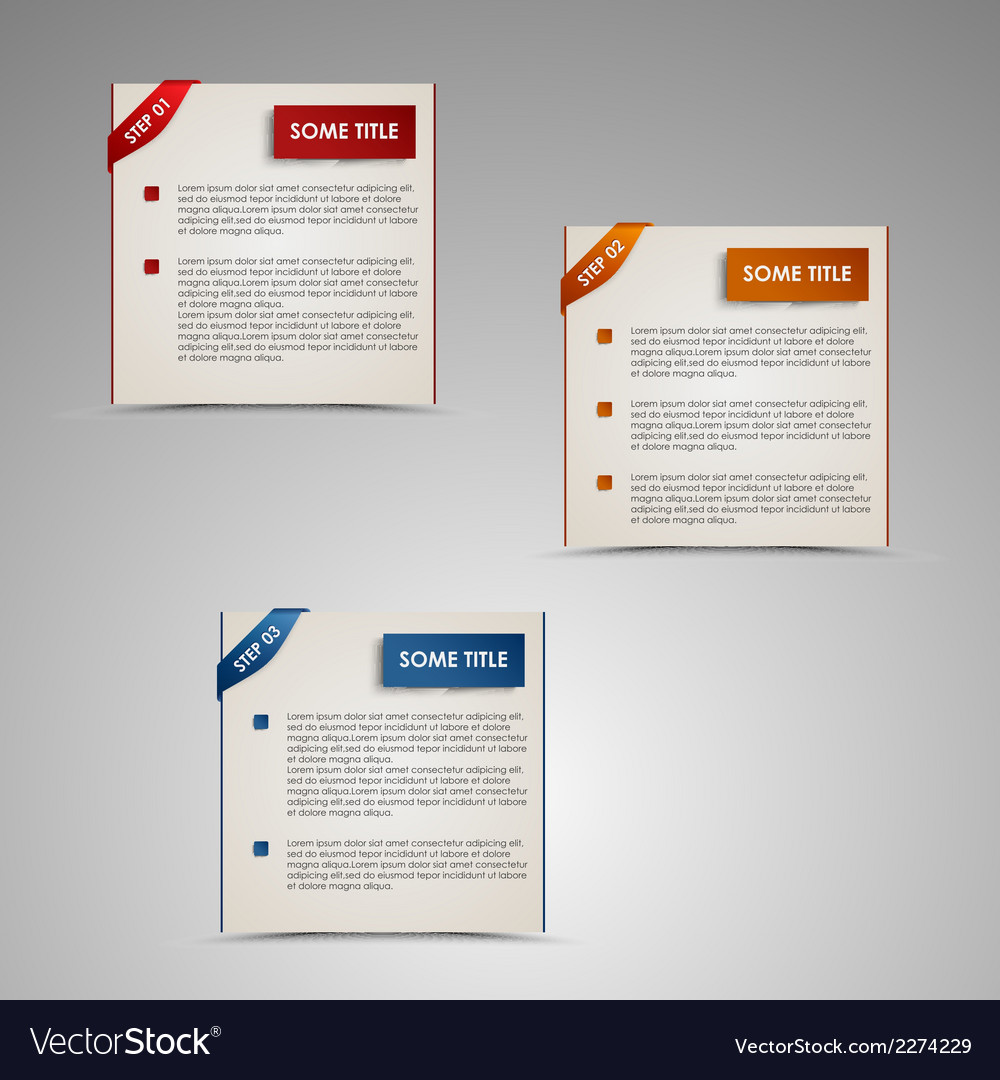 Modern steps colored labels template vector | Price: 1 Credit (USD $1)