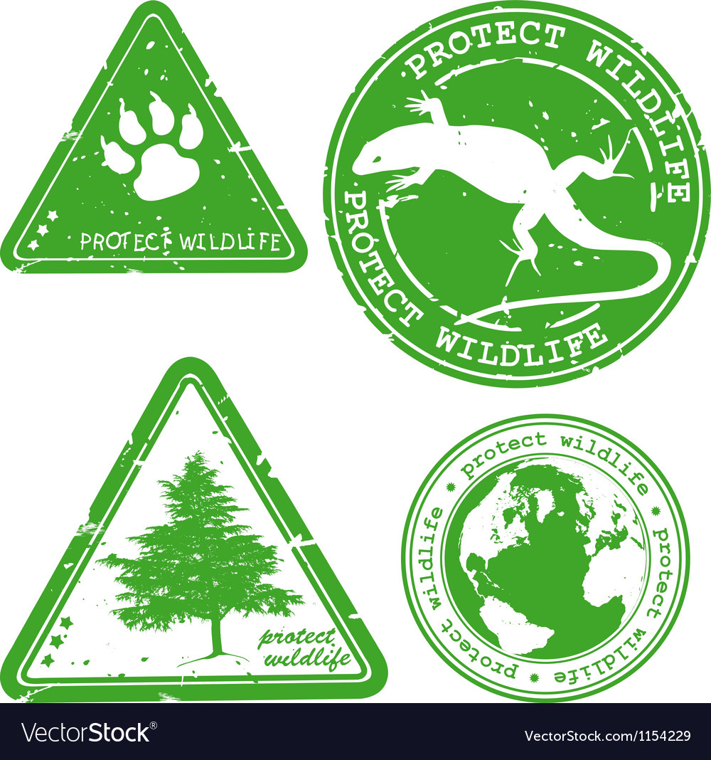 Protect wildlife stamp vector | Price: 1 Credit (USD $1)