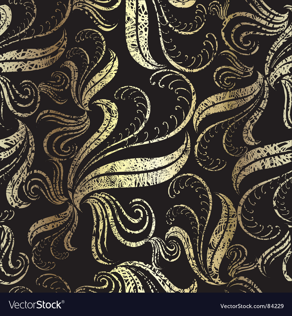 Seamless vintage gold floral pattern vector | Price: 1 Credit (USD $1)