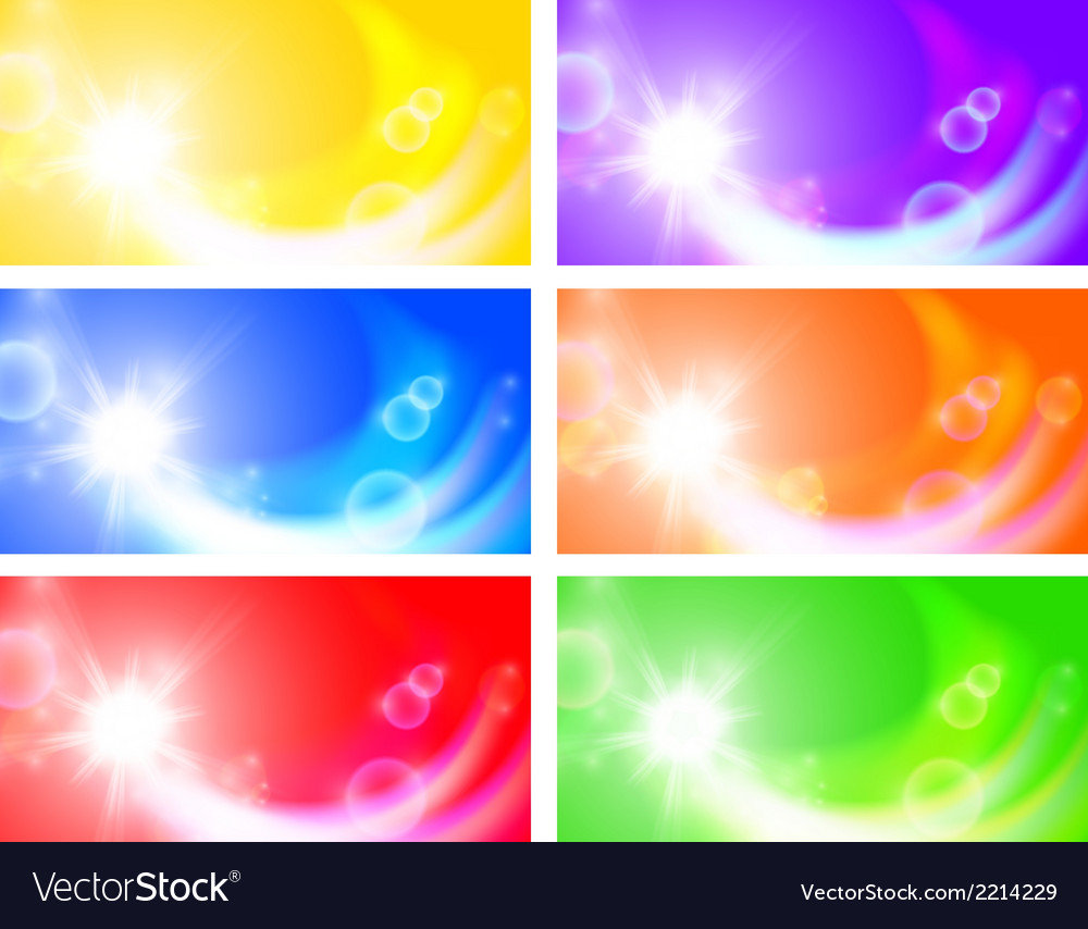 Set of horizontal sunny banners vector | Price: 1 Credit (USD $1)
