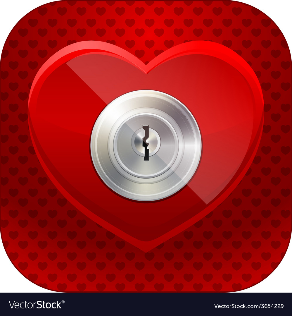 Shiny heart with a keyhole vector