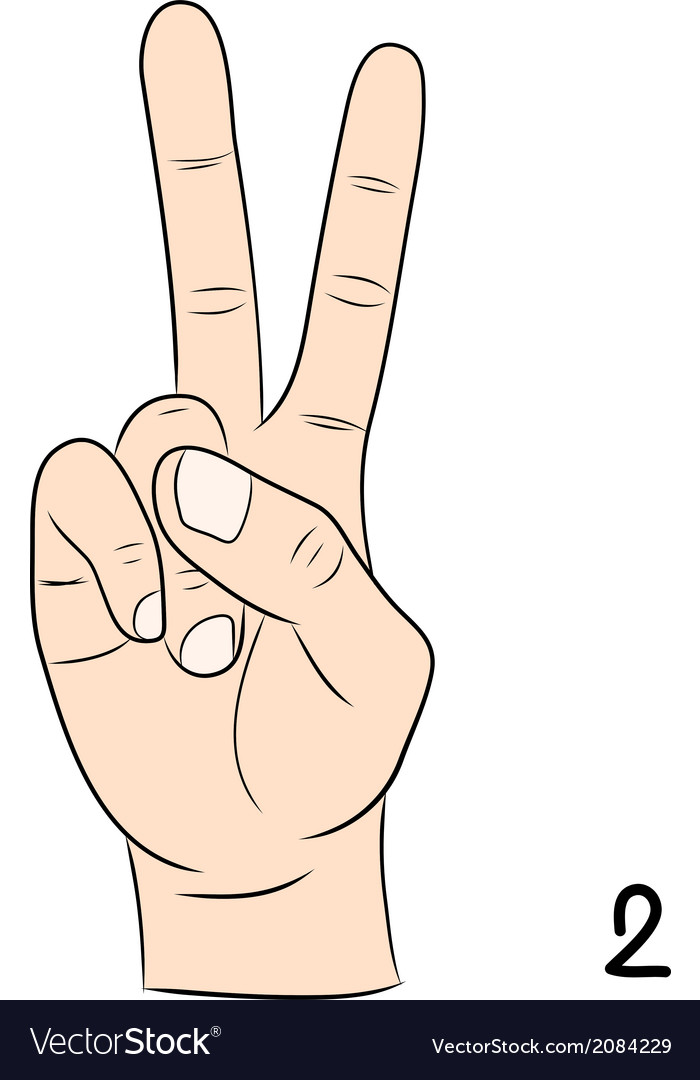 Sign language number 2 vector | Price: 1 Credit (USD $1)