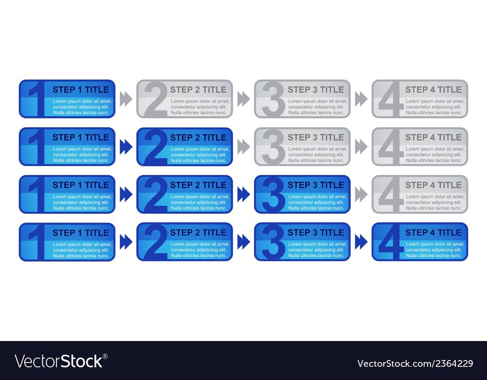 Step 1 - 4 blocks with progress vector | Price: 1 Credit (USD $1)