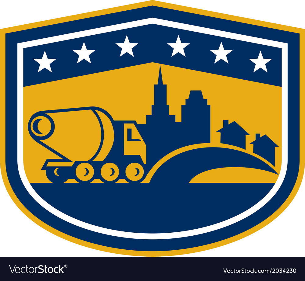 Cement truck construction building shield vector | Price: 1 Credit (USD $1)