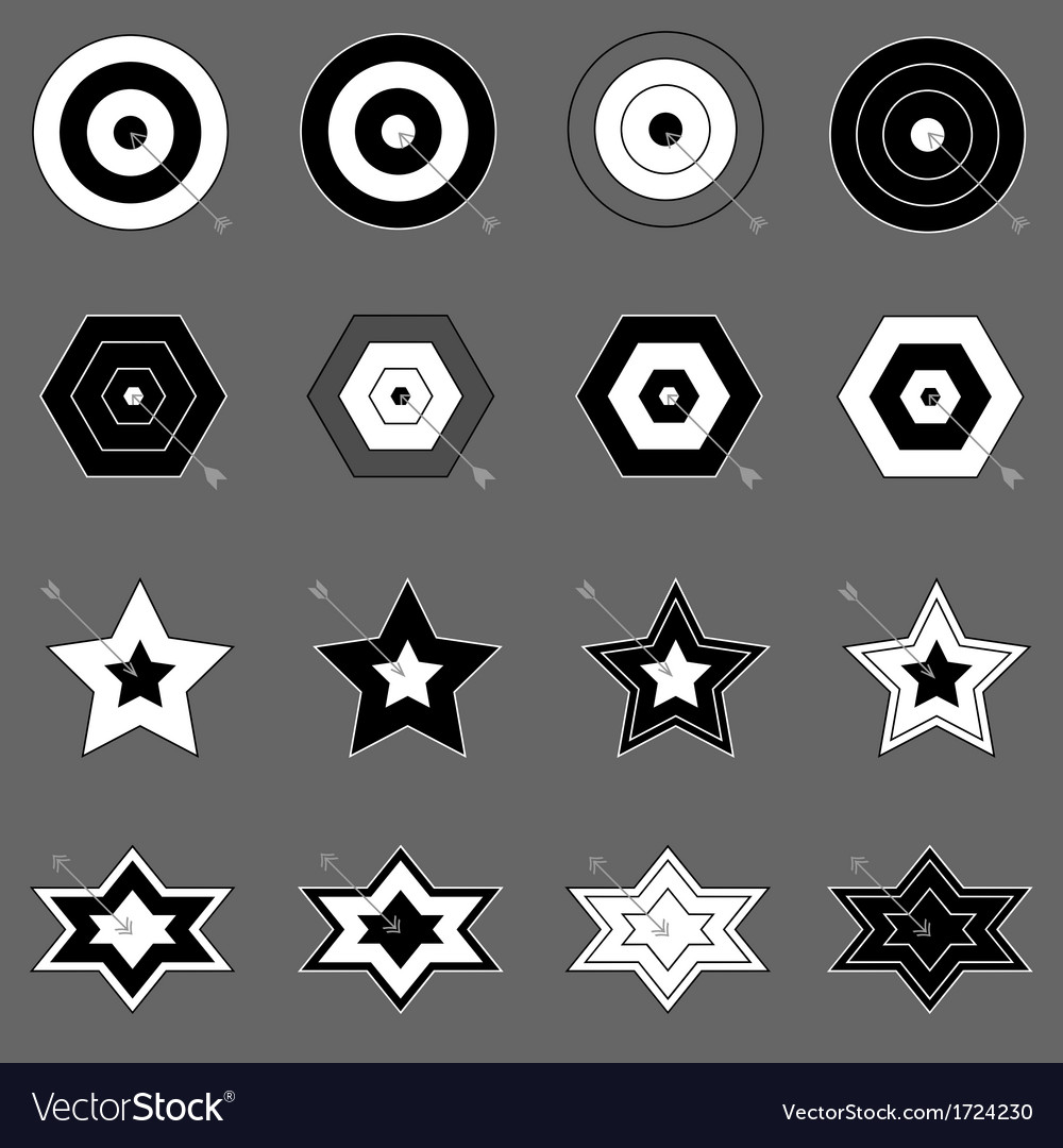 Create target and arrow icons on gray background vector | Price: 1 Credit (USD $1)