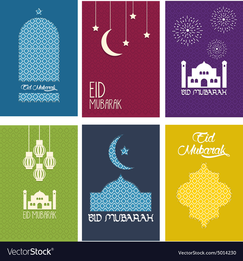 Happy eid mubarak card collection vector