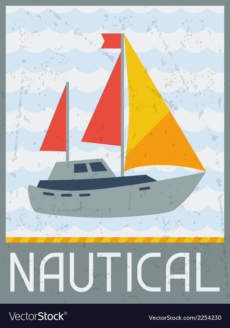 Nautical retro poster in flat design style vector | Price: 1 Credit (USD $1)