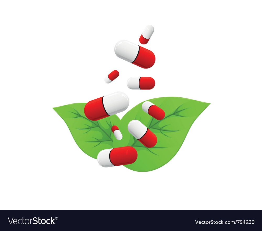 Pills falling on leaves vector | Price: 1 Credit (USD $1)