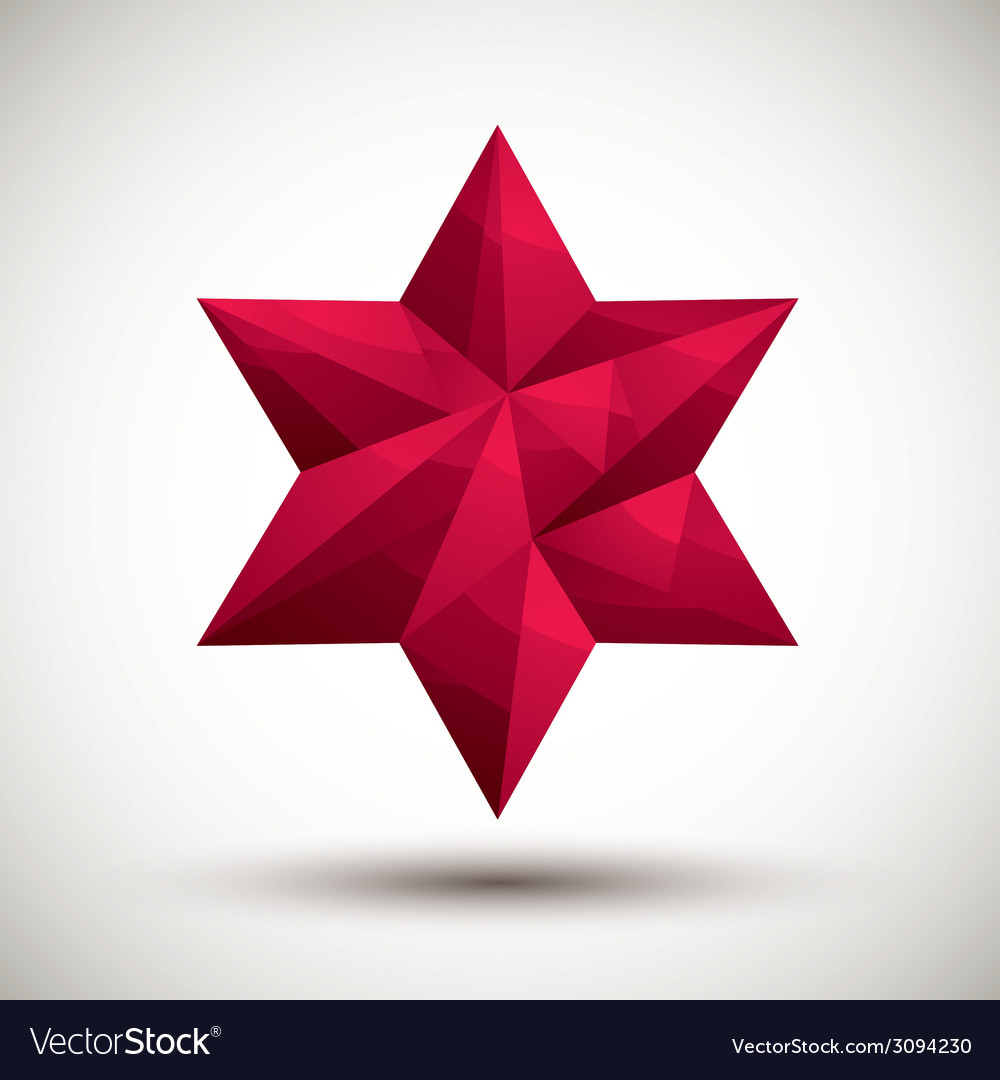 Red six angle star geometric icon made in 3d vector   Price: 1 Credit (USD $1)