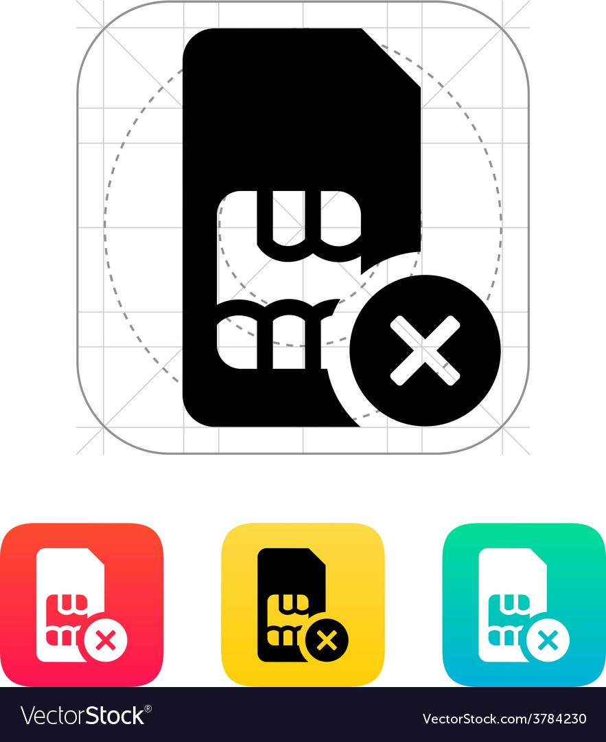 Sim card with cancel sign icon vector | Price: 1 Credit (USD $1)