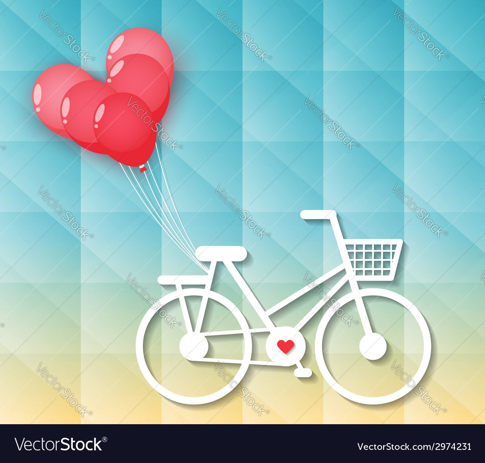 Bicycle with red heart balloons vector | Price: 1 Credit (USD $1)
