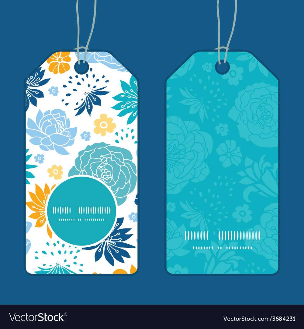 Blue and yellow flowersilhouettes vertical round vector | Price: 1 Credit (USD $1)