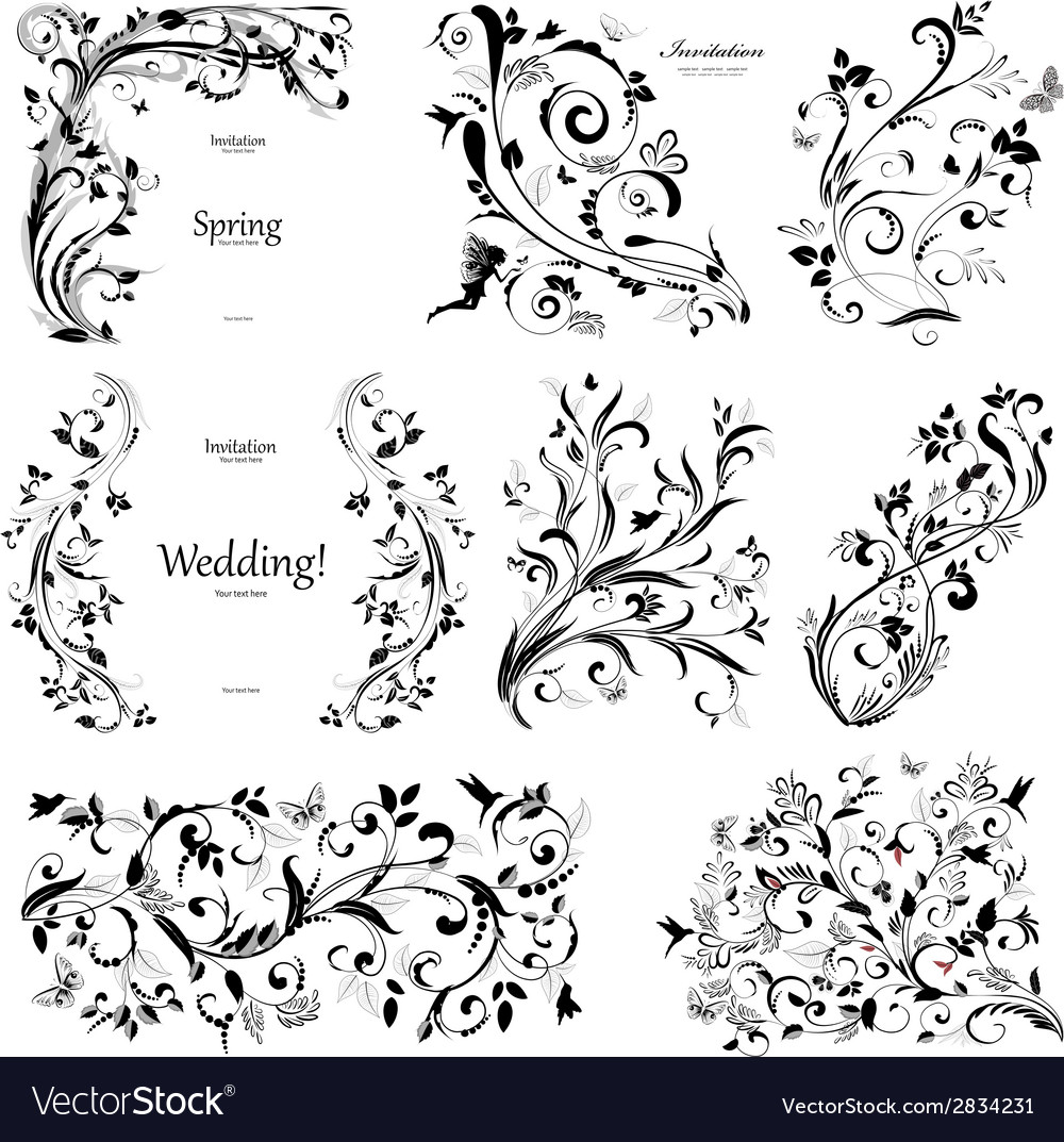 Collection of floral a vintage elements for you vector | Price: 1 Credit (USD $1)