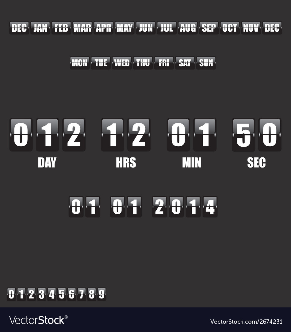 Countdown timer and date on black background vector | Price: 1 Credit (USD $1)