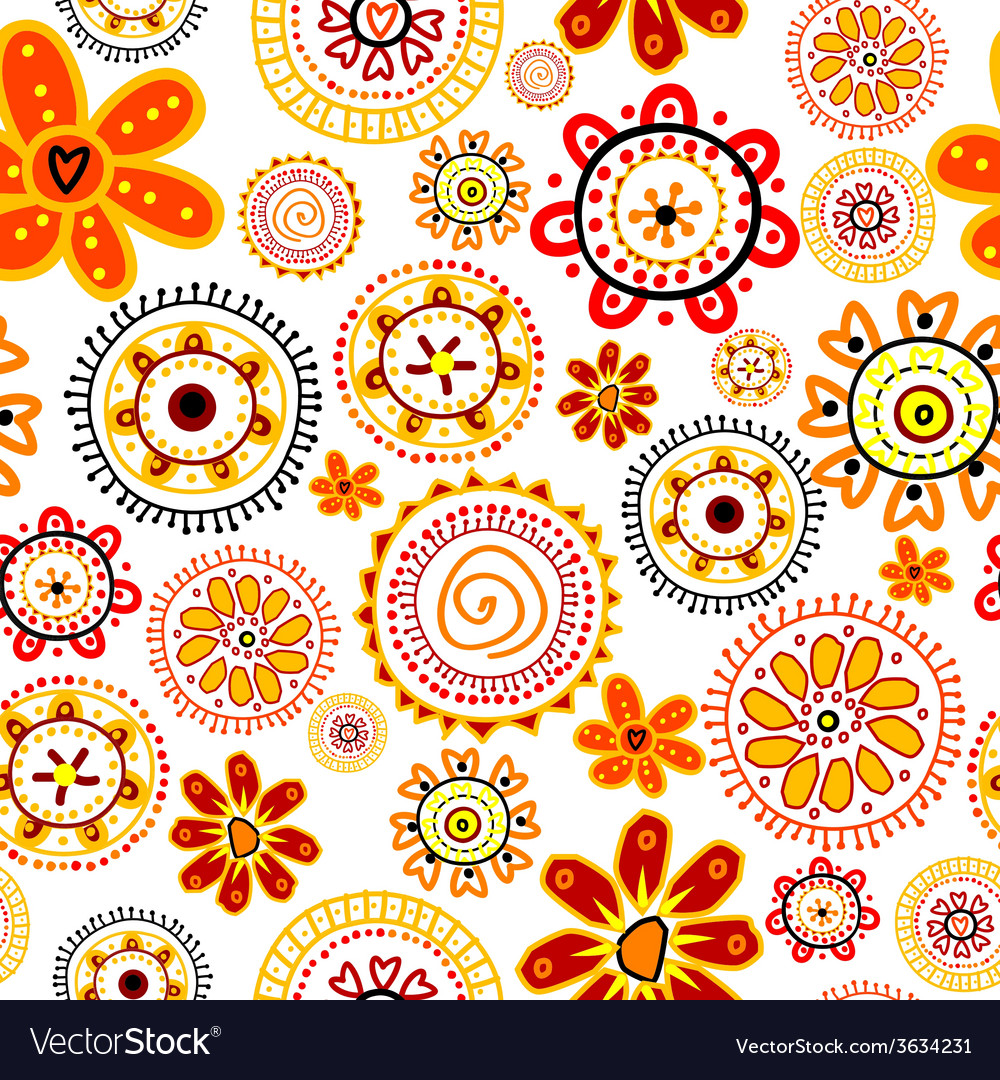 Doodle flowers seamless pattern vector | Price: 1 Credit (USD $1)