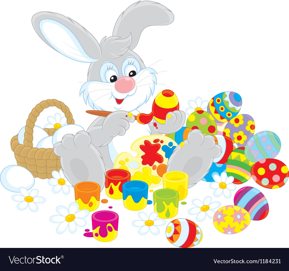 Easter bunny painter vector | Price: 3 Credit (USD $3)