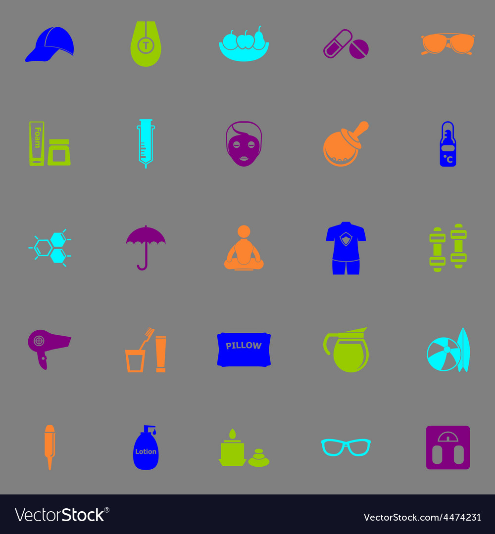 Facial and body treatment fluorescent color icons vector | Price: 1 Credit (USD $1)