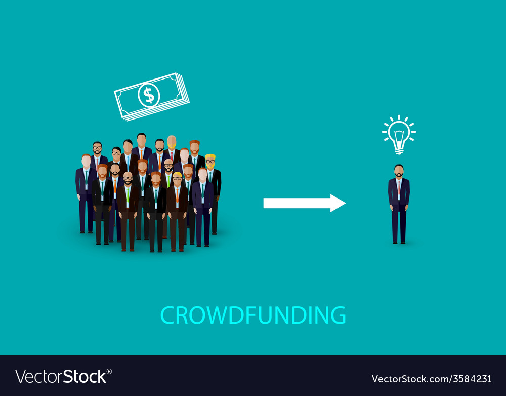 Flat of an infographic crowdfunding concept a vector | Price: 1 Credit (USD $1)