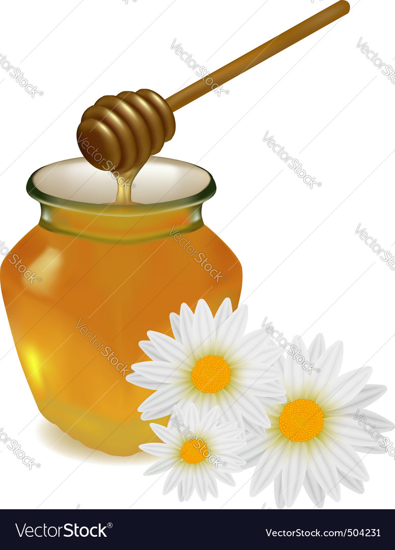 Honey with flowers vector | Price: 1 Credit (USD $1)