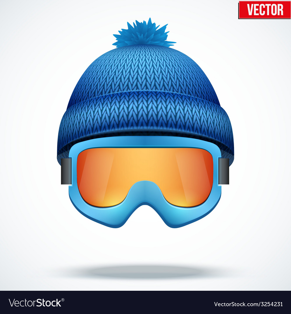 Knitted woolen blue cap with snow goggles winter vector   Price: 1 Credit (USD $1)