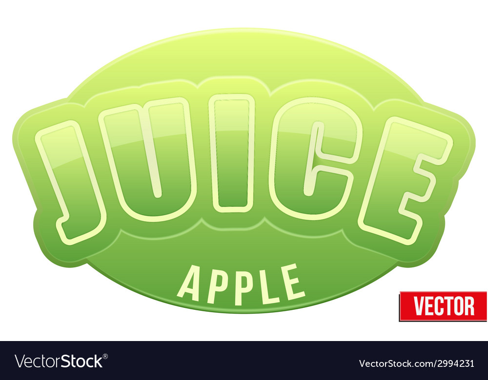 Label for green apple juice bright premium design vector | Price: 1 Credit (USD $1)