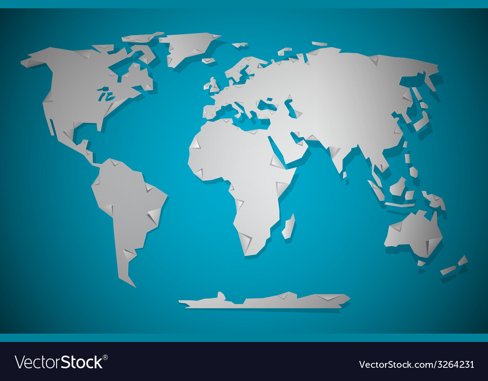 Paper cut world map with bent corners on blue vector | Price: 1 Credit (USD $1)