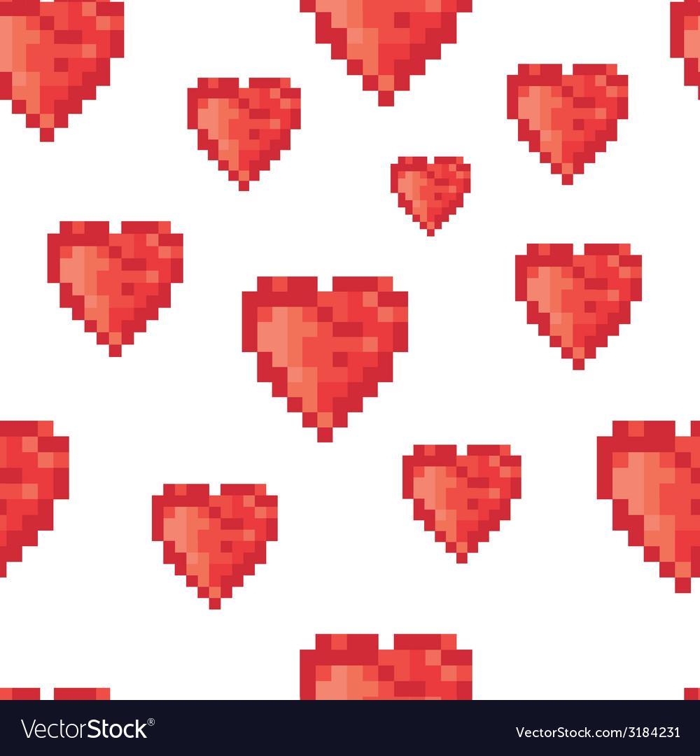 Pixel hearts pattern vector | Price: 1 Credit (USD $1)
