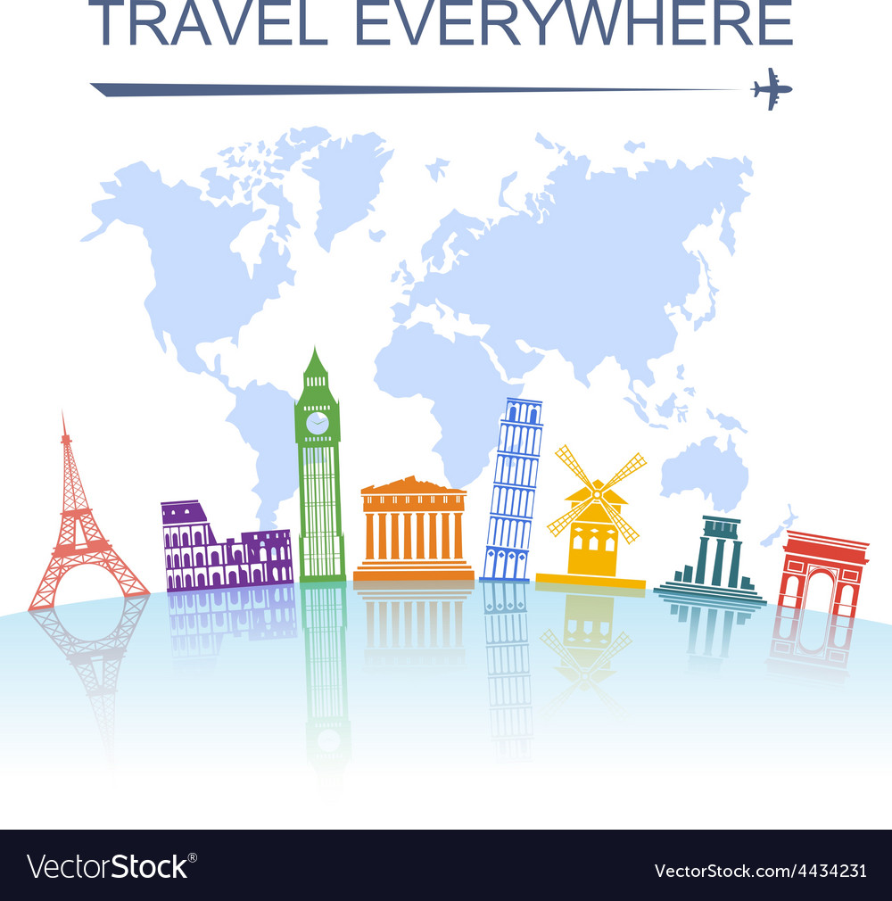 Travel landmark concept poster print vector | Price: 1 Credit (USD $1)