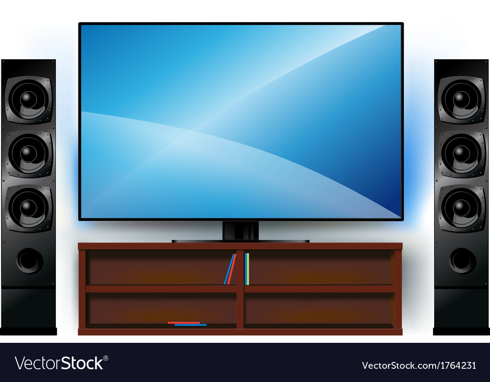 Tv on a stand and home theater vector | Price: 1 Credit (USD $1)