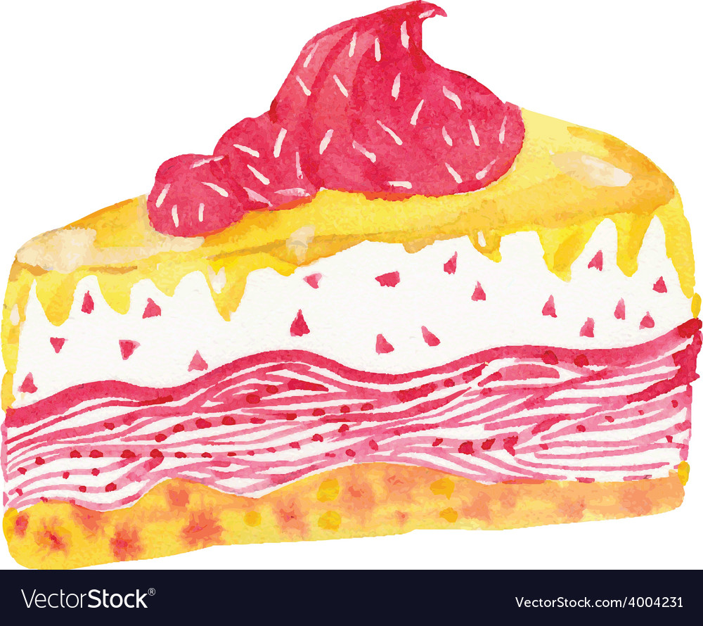 Watercolor cream cake vector | Price: 1 Credit (USD $1)