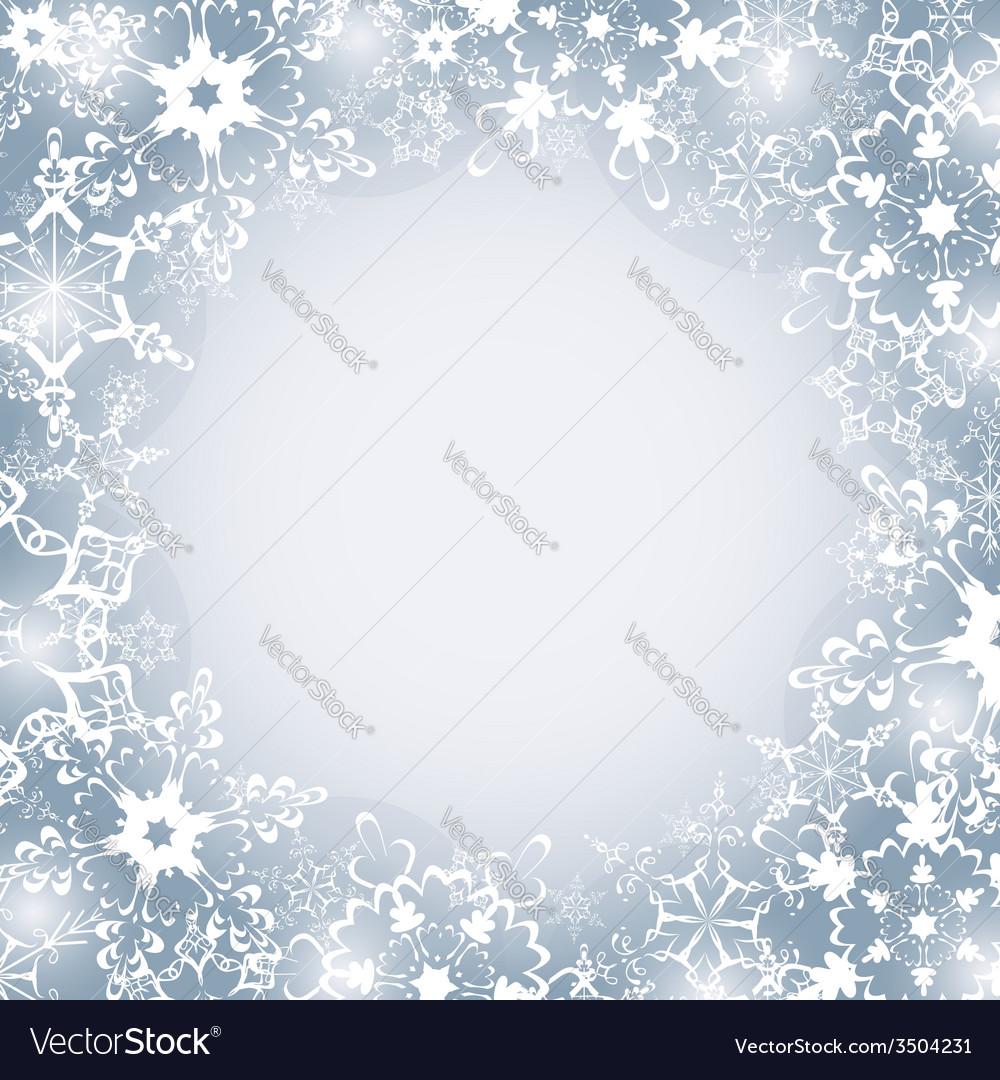 Winter seasonal frame with snowflakes vector