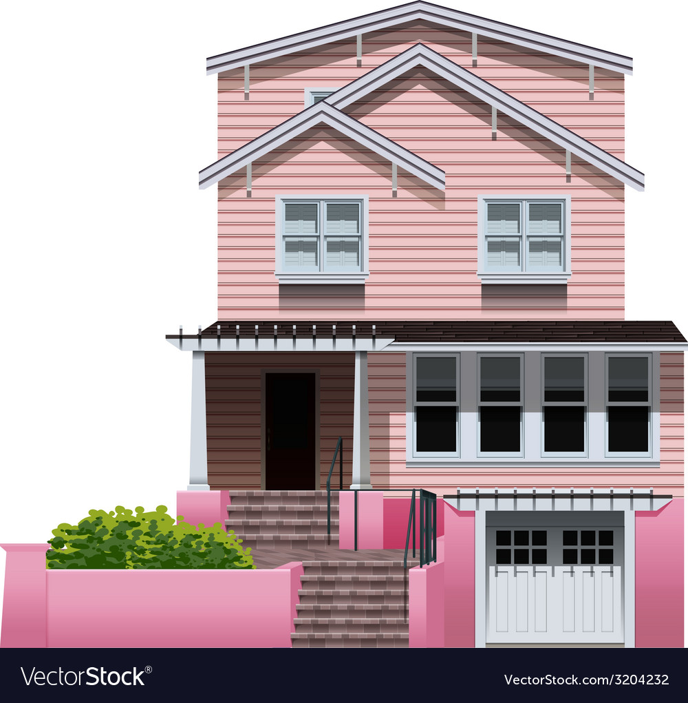 A beautiful pink house vector | Price: 1 Credit (USD $1)
