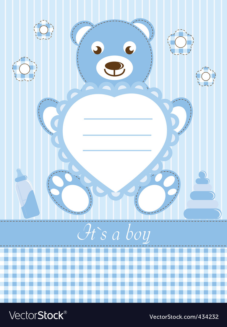 Baby boy shower invitation ca vector | Price: 1 Credit (USD $1)
