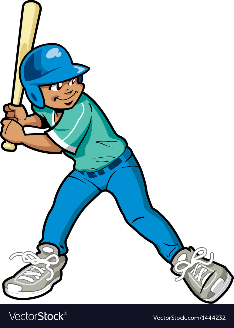 Boy baseball batter vector | Price: 1 Credit (USD $1)