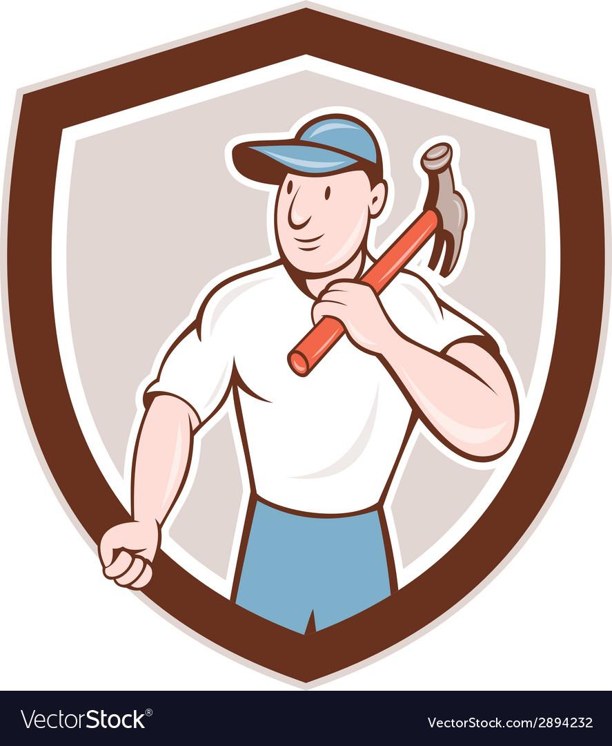 Builder carpenter holding hammer shield cartoon vector | Price: 1 Credit (USD $1)