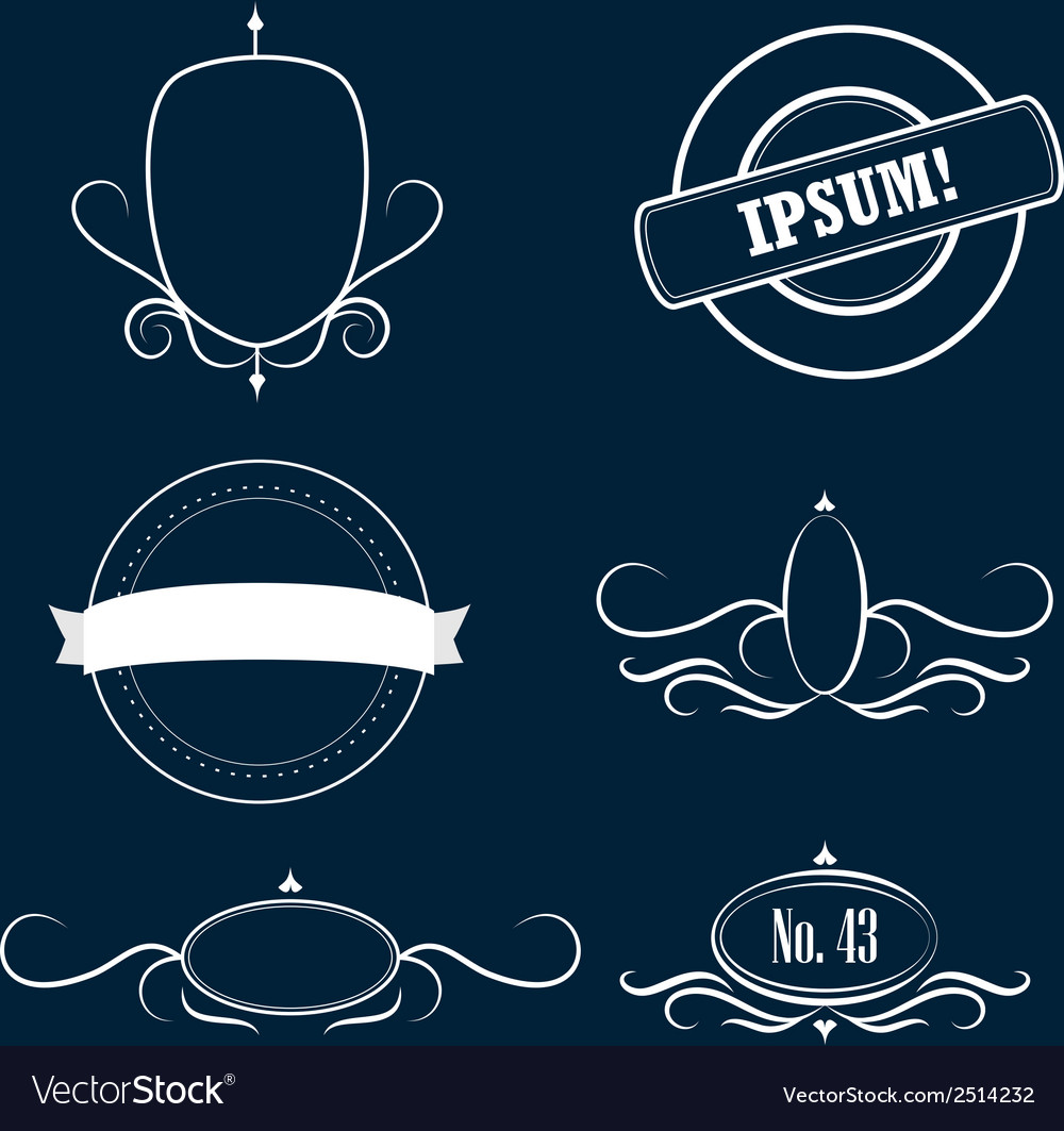 Collection of decorative frames and emblems vector | Price: 1 Credit (USD $1)