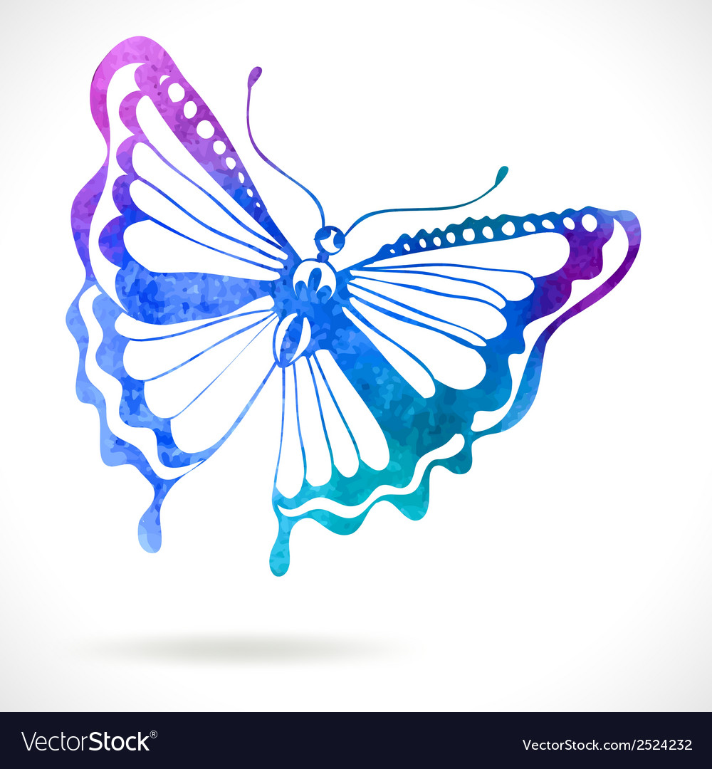 Colorful background with watercolor butterfly vector | Price: 1 Credit (USD $1)