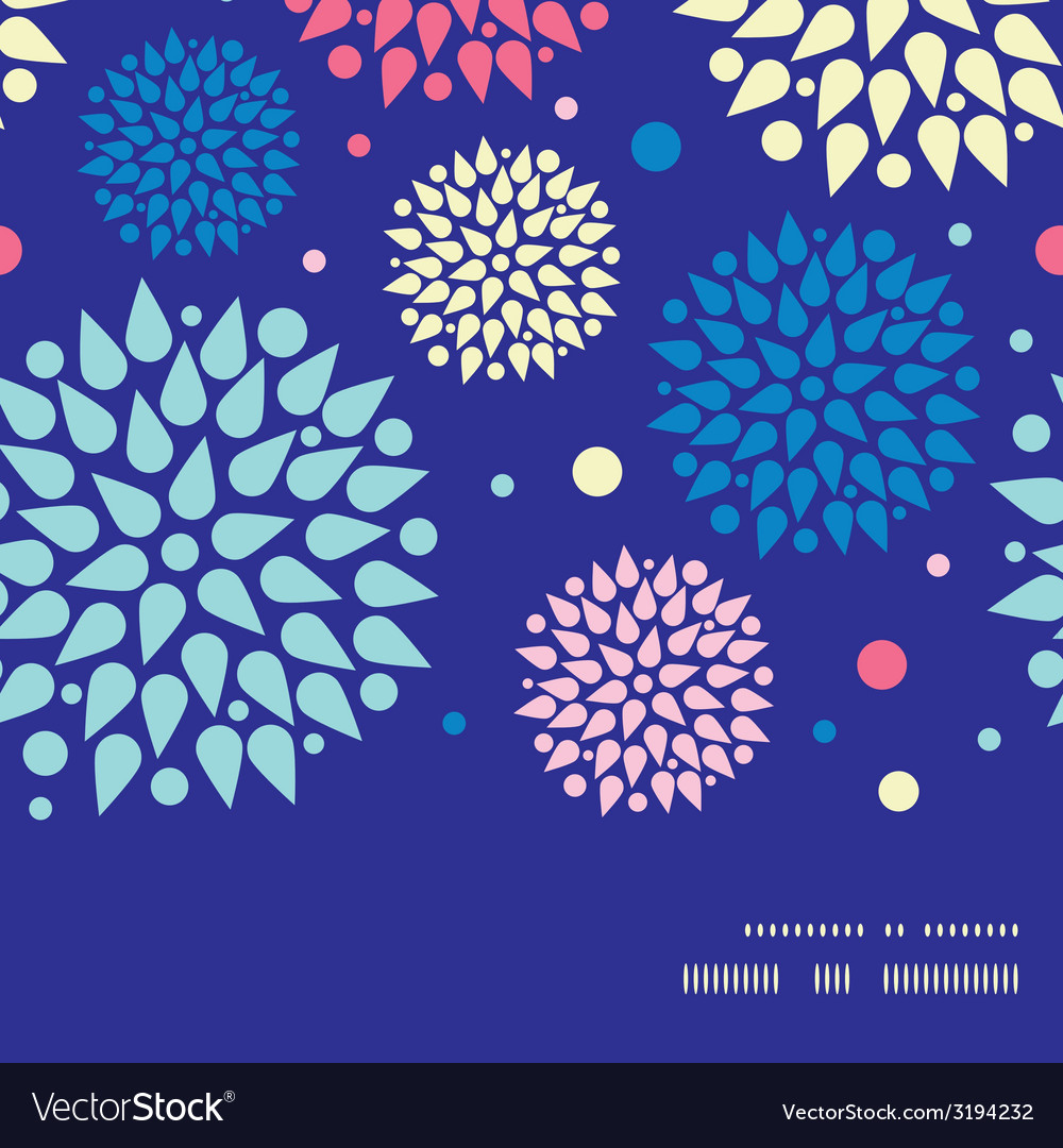 Colorful bursts horizontal frame seamless pattern vector | Price: 1 Credit (USD $1)
