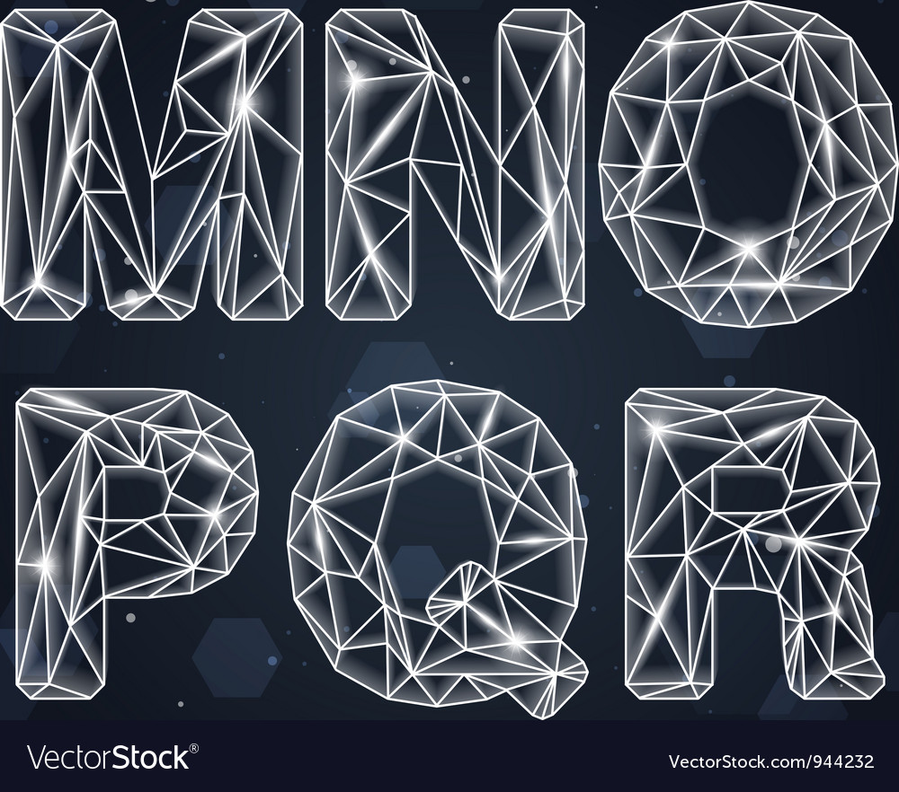 Constellation geometric font m-r vector | Price: 3 Credit (USD $3)