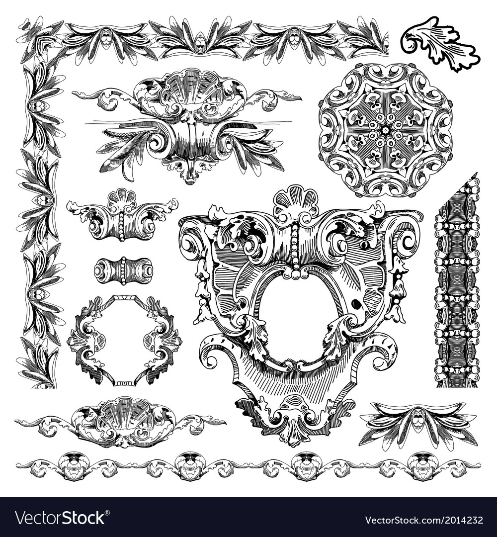 Hand draw vintage sketch ornamental design element vector | Price: 1 Credit (USD $1)