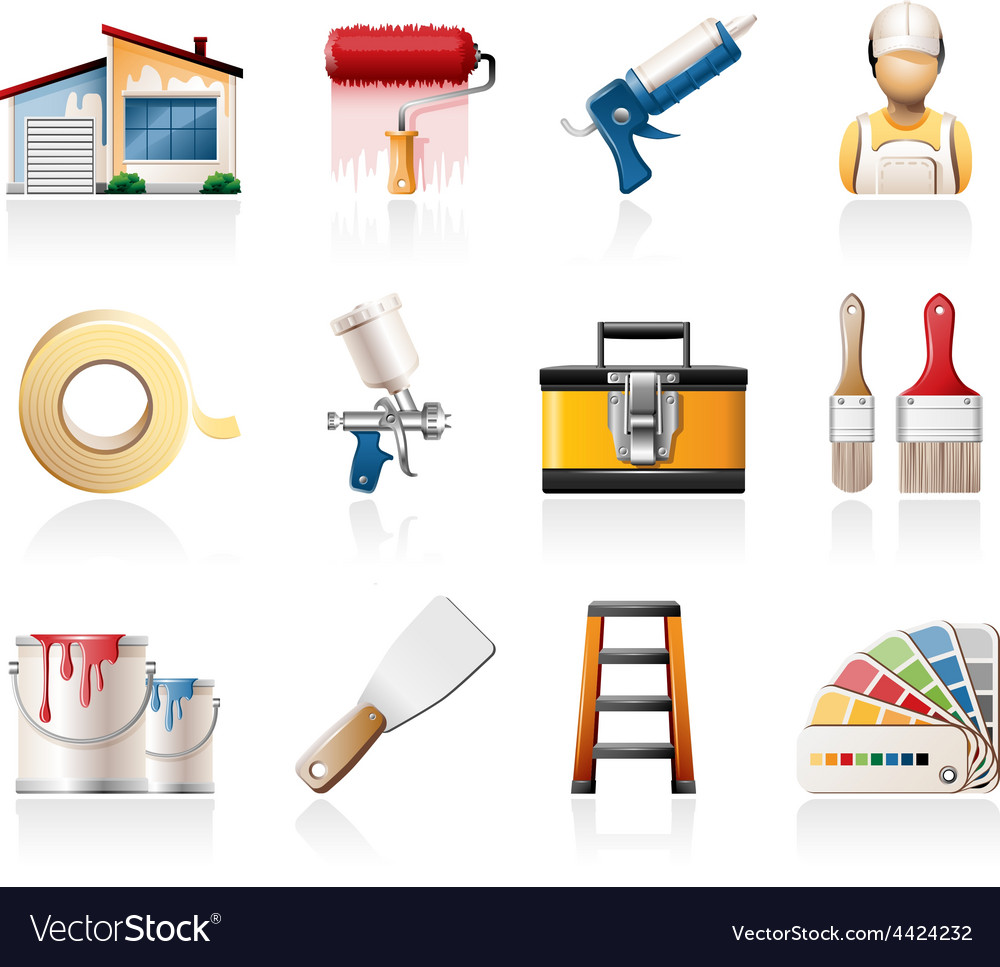 House painting icons vector | Price: 3 Credit (USD $3)