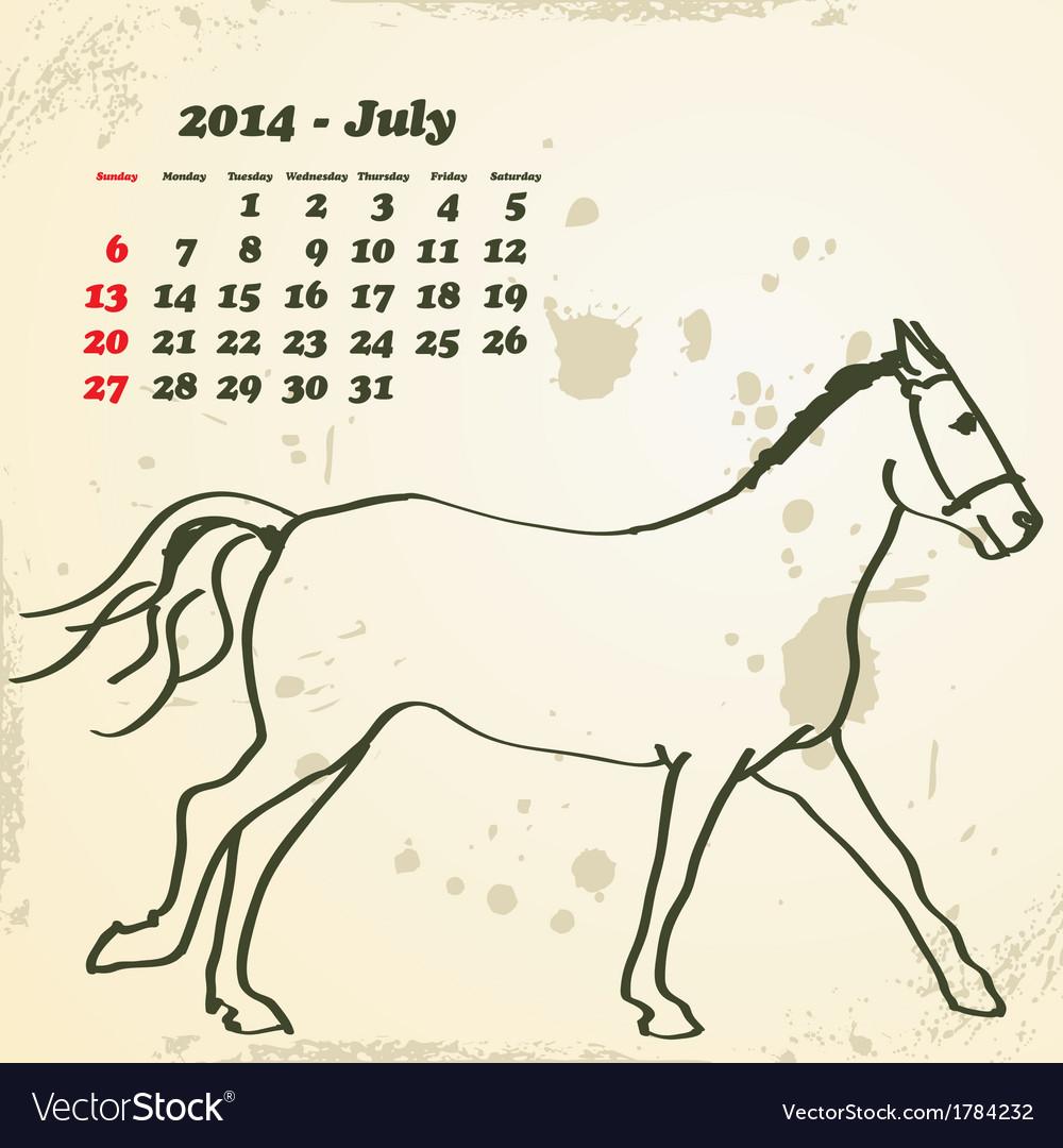 July 2014 hand drawn horse calendar vector | Price: 1 Credit (USD $1)